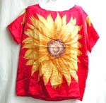 Over size lady's shirt top cover with huge yellow sun flower pattern central decor, short sleeve; wide open neck