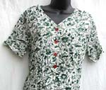 One piece through short sleeve green floral wrinkle skirt