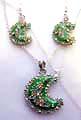 Fashion necklace and earring set, chain necklace holding a multi mini cz embedded, green moon pendant at center, with same design fish hook earring for match up