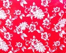 Red sarong wrap with white Hawaii flower design