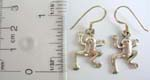 Stamped 925.sterling silver fish hook earring with frog shape design