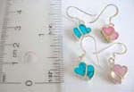 Double hear love 925.sterling silver fish hook earring with turquoise chips and seashell inlay