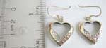 ish hook heart shape frame earring with filigree pattern design and sterling silver inlaid