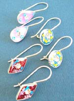 Enamals 925.sterling silver leverback earring or fish hook earring in assorted design