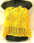 Summer yellow crochet top with filigree flower and square pattern design