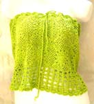 Summer green crochet top with filigree flower and square pattern design