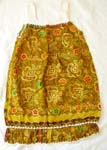 Hawaiian kid dress with white crochet around neck and edge, gold painted in assorted royal color and pattern design