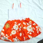 Tropical hawaiian flower dress with elastic top and double robbin string design