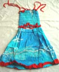 Tie-dye kid dress set with adjustable top and tie on shoulders, also flower cotton layer on dress bottom