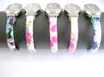 Assorted color cuff watch motif in variety oval shape design with printed flower pattern on bangle