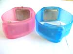 Thumper jelly watch with rectangular clock face in pinky and blue color