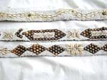 Assorted white color seed beads and seashell coconut wooden button belt with two strings tie design