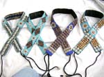 Assorted design blue color seed beads and seashell and coconut wooden button belt with two strings for closure