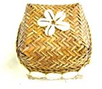 Square rattan box with flower seashell on and seashell decor on side