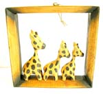 Triple dotted yellow giraffe frame wall decor