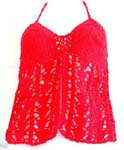 Casual summer wear crochet top motif filigree triangle and open front lower part design with neck ties in red color