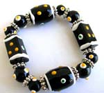 Fashion stretchy black bracelet with multi white yellow hand-painted Chinese lampwork glass bead and flat silver beads design