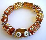 Fashion stretchy brown bracelet with multi color hand-painted Chinese lampwork glass bead and flat silver beads design