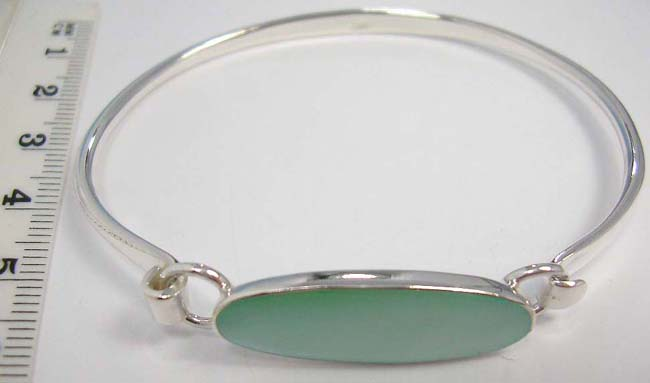 Y 925 Sterling Silver Bangle Bracelet With Crafted Dye Color Seas Abalone Or Turquoise In Oval Shape Randomly Picked By Warehouse Staffs