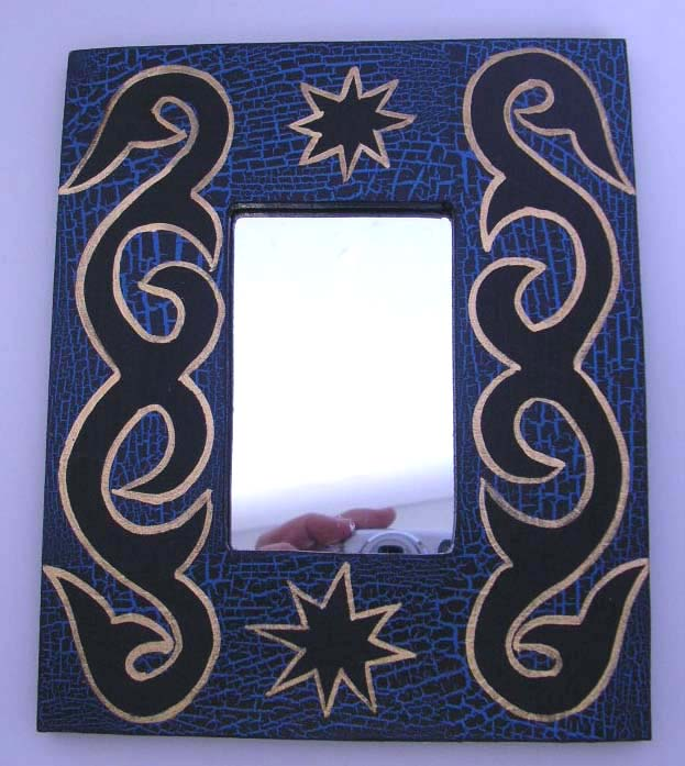 "Fashion blue color mirror with black tattoo design. Size: 7.5"" * 5.8"" inches"