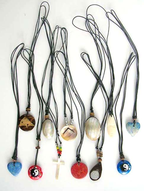 Online costume wholesaler supply home decor sterling silver assorted seashell pendant black cord necklace mozeypictures Choice Image