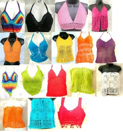 Assorted Balinese Sexy Beach Wear included Triangle Crochet Top, Fish-Net Crochet Bra, Knitted Fringe Crochet Bra, Seashell Crochet Top and Tube Crochet Bra