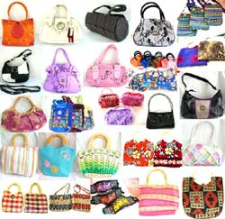 Assorted Rattan Handbag, Chinese Silk Purse, PVC Handbag, Cotton Purse, Handicraft Handbag, Fury Purse and Bali Handbag