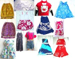 Assorted Hawaiian Kid's Dress, Hibiscus Mini Skirt Set, Mini Skirt, Sweater and Pant Plus Top Set