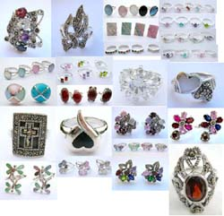 Assorted sterling silver marcasite stone ring, seashell ring, cubic zirconia ring, gemstone ring, agate stone ring