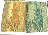 A fancy layout, gold thread floral print scarf
