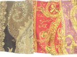 floral or teardrop print with gold thread embroidery shawls